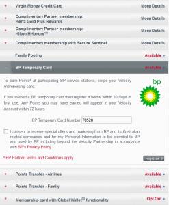 BP Temporary Card Registration Panel