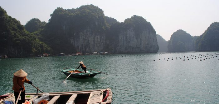 fisherman in boats in vietnam