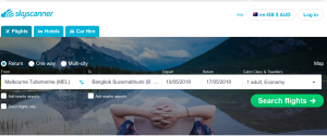 SkyScanner Home Page search