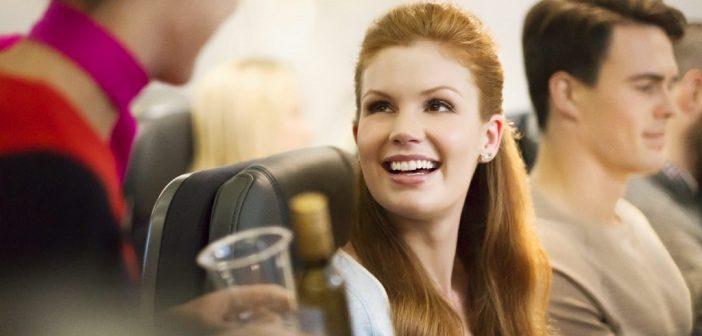 Serving drinks in Qantas Economy