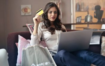 Younf woman shopping online
