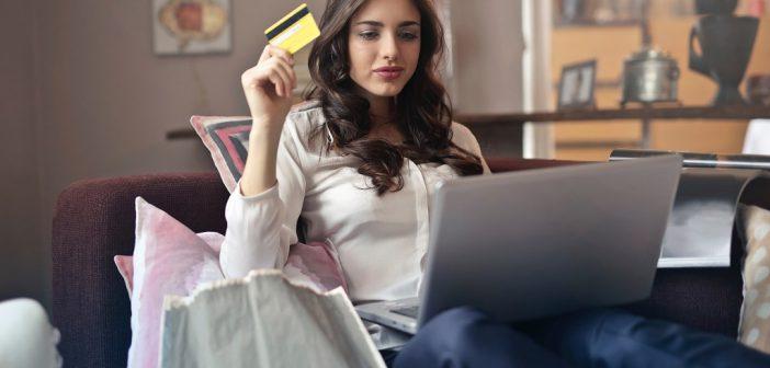 Younf woman shopping online