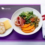 Pumpkin and prosciutto salad served with cheese and crackers and chocolate delight cake